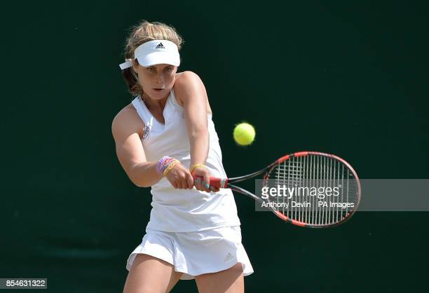 Great Britain's Maia Lumsden in her Girls' Singles match against USA's Catherine Cartan Bellis during day nine of the Wimbledon Championships at the...