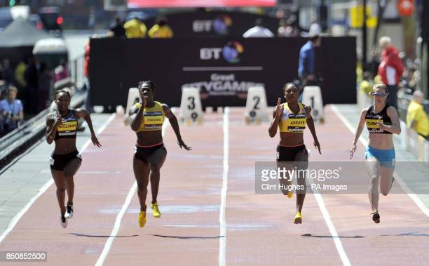 Great Britain's Margaret Adeoye wins the women's 100m from team mates Bianca Williams Anyika Onuora and Laura Turner during the BT Great City Games...