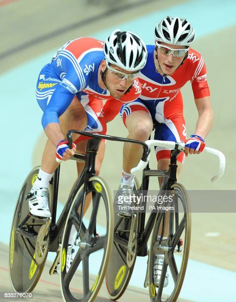 Great Britain's Mark Cavendish and Peter Kennaugh at the 2009 UCI World Track Cycling Championships at the BGZ Arena Velodrome in Pruszkow Poland