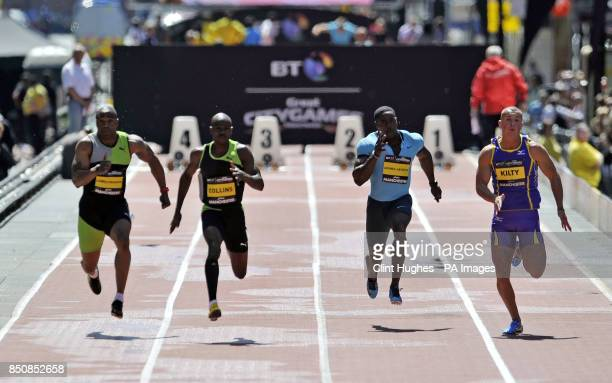 Great Britain's Mark Lewis Francis St Kitt's and Nevis' Kim Collins Great Britain's Harry AikinesAryeetey and Richard Kilty compete in the men's 100m...