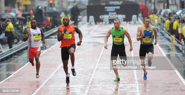 Great Britain's Mark LewisFrancis beats Richard Kilty to win the Men's 100m Sprint race during the Great City Games Manchester