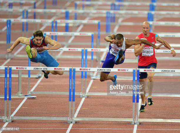 Great Britain's Mark Sharman is beaten to Gold by Russia's Sergey Shubenkov in the Men's 110m Hurdles Final during day three of the 2014 European...