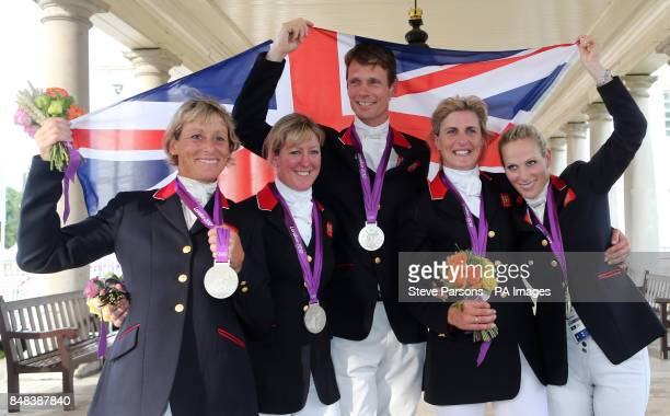 Great Britain's Mary King Nicola Wilson William FoxPitt Tina Cook and Zara Phillips celebrate with their Silver medals after finishing second in the...