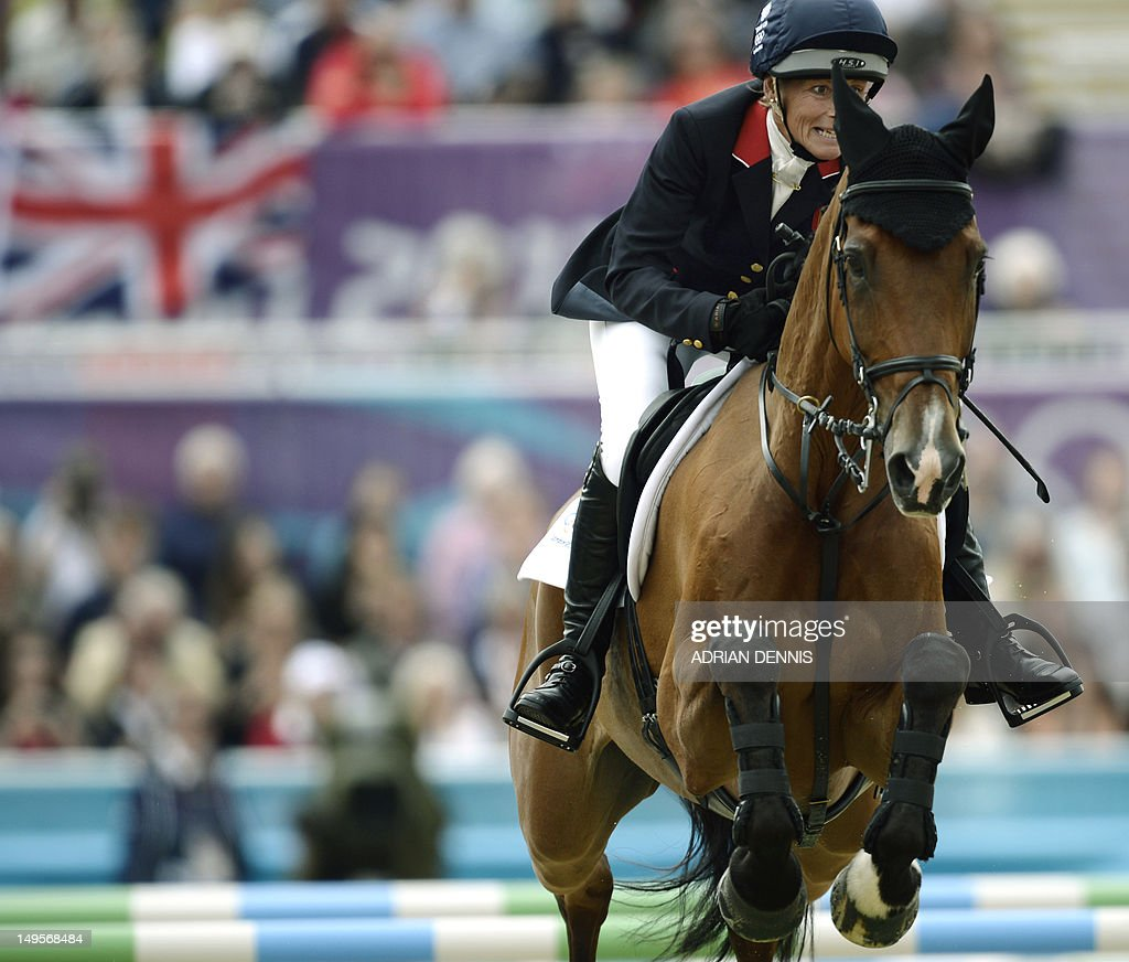 Great Britain's Mary King riding Imperial Cavalier competes in the team Show Jumping phase of the Eventing competition of the 2012 London Olympics at the Equestrian venue in Greenwich Park, London on July 31, 2012.