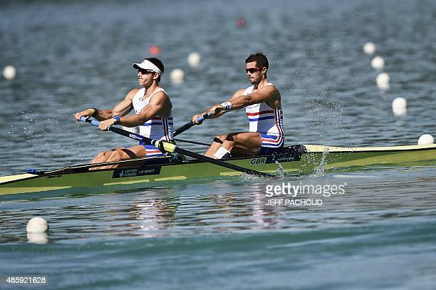 Great Britain's Matt Langridge and James Ford compete in the men's coxless pair on August 30 2015 in Aiguebelette Le Lac during the world rowing...