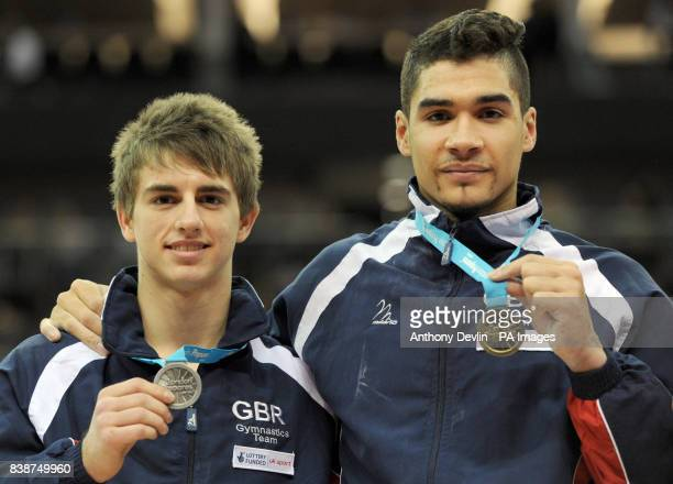 Great Britain's Max Whitlock celebrates winning Silver and Louis Smith celebrates winning the Gold medal in the Pommel Horse final during the Visa...
