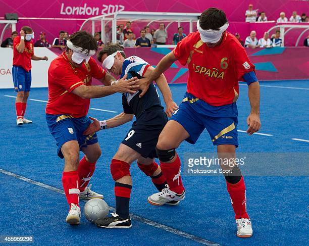 Great Britain's men's 5 aside blind football team during their match against Spain in the Paralympic games in London 2012