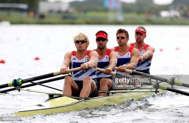 Great Britain's Men's Four of Andrew Triggs Hodge Tom James Pete Reed and Alex Gregory at Eton Dorney Rowing Lake
