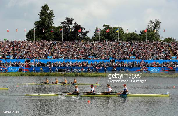 Great Britain's Men's Four of Andrew Triggs Hodge Tom James Pete Reed and Alex Gregory lead the crew of Australia to go on and win gold in the final...