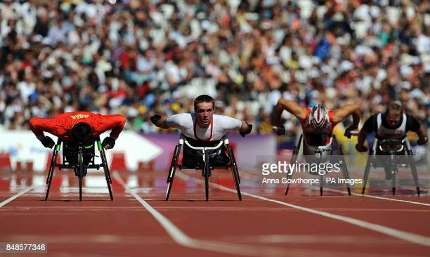 Great Britain's Mickey Bushell in action during round 1 of the Men's 200m T53 at the Olympic Stadium London