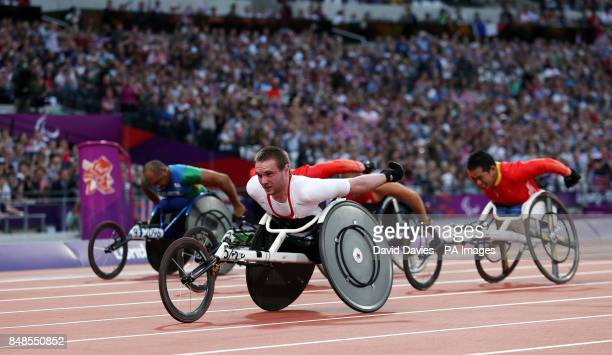 Great Britain's Mickey Bushell on his way to winning gold in the mens 100m T53 category in the Olympic Stadium