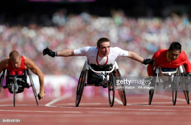 Great Britain's Mickey Bushell wins Heat 1 of the Men's 100m T53 at the Olympic Stadium London