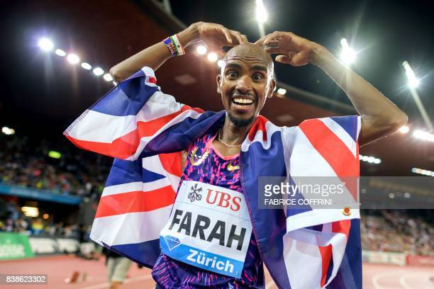 TOPSHOT Great Britain's Mo Farah celebrates after winning the men's 5000m event during the IAAF Diamond League Athletics Weltklasse meeting in Zurich...