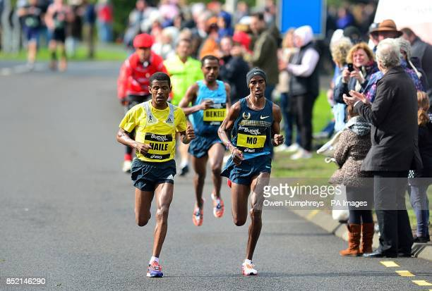 Great Britain's Mo Farah Ethiopa's Kenenisa Bekele and Ethiopia's Haile Gebrselassie of the 2013 Great North Run between Newcastle and South Shields