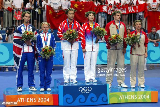 Great Britain's Nathan Robertson and Gail Emms China's Jun Zhang and Lingh Gao and Denmark's Mette Schjoldager and Jens Eriksen at the the medal...