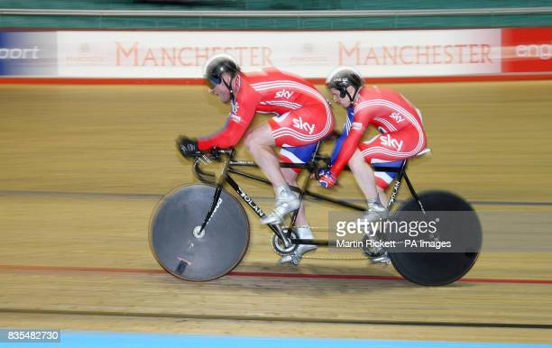 Great Britain's Neil Frachie and David Readle on thier way to taking bronze in the 1000M Time Trial B/Vi during the BT Paralympic World Cup Manchester