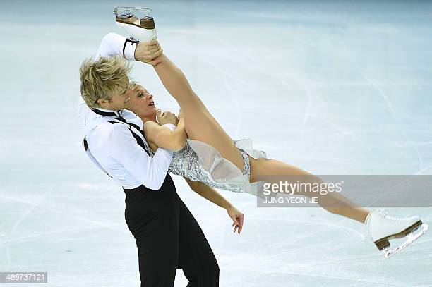 Great Britain's Nicholas Buckland and Great Britain's Penny Coomes perform in the Figure Skating Ice Dance Short Dance at the Iceberg Skating Palace...