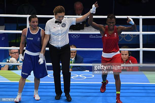 Great Britain's Nicola Adams celebrates winning against France's Sarah Ourahmoune during the Women's Fly Final Bout at the Rio 2016 Olympic Games at...