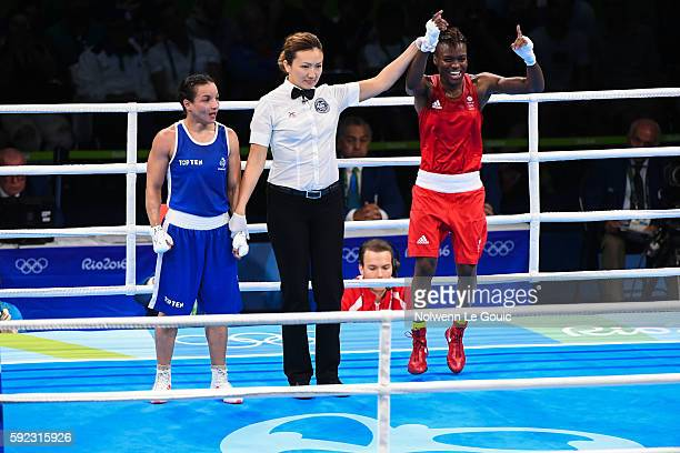 Great Britain's Nicola Adams in action against France's Sarah Ourahmoune during during a Women's Fly final bout on Day 15 of the 2016 Rio Olympic...