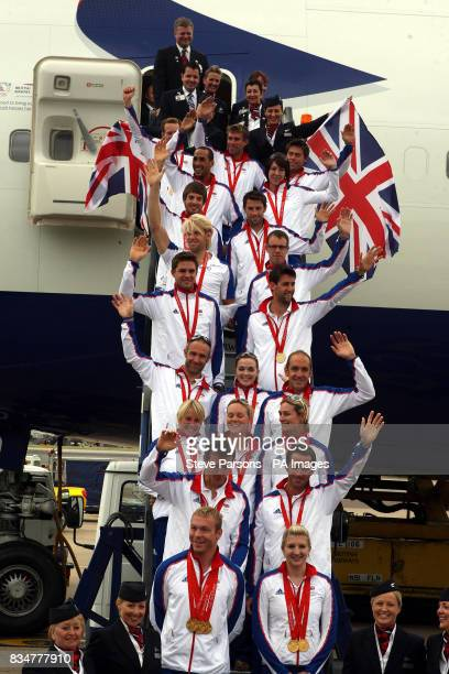Great Britain's Olympic Gold Medalists Chris Hoy Rebecca Adlington Steve Williams Ben Ainslie Sarah Ayton Sarah Webb Pippa Wilson Jamie Staff...
