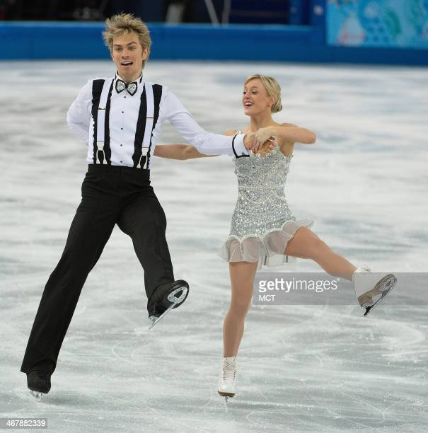 Great Britain's Penny Coomes and Nichloas Buckland perform during the team pairs ice dance short dance program at the Iceberg Skating Palace at the...