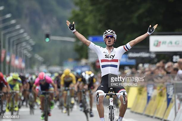 Great Britain's Peter Kennaugh celebrates as he crosses the finish line at the end of the 1315 km first stage of the 67th edition of the Dauphine...