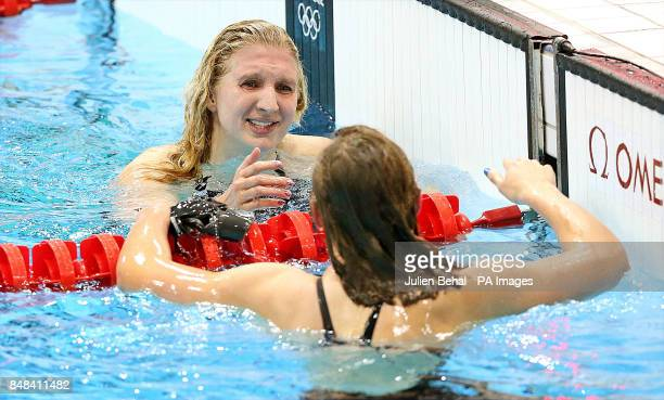 Great Britain's Rebecca Adlingto as she congratulates USA's Katie Ledecky who won Women's 800m Freestyle Final at the Aquatics Centre in the Olympic...
