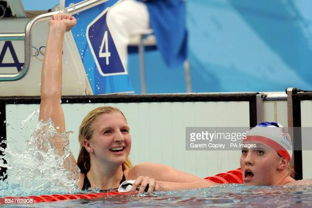 Great Britain's Rebecca Adlington alongside her compatriot Cassie Patten celebrates her second gold medal of the Beijing Games with victory in the...