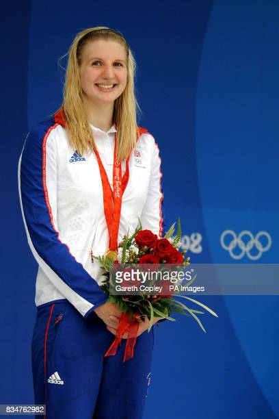Great Britain's Rebecca Adlington celebrates her second gold medal of the Beijing Games with victory in the women's 800m freestyle in a worldrecord...