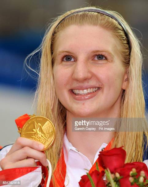 Great Britain's Rebecca Adlington celebrates with her second gold medal of the Beijing Games with victory in the women's 800m freestyle in a...