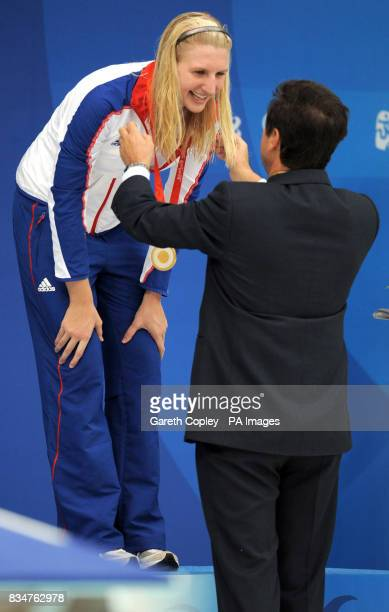 Great Britain's Rebecca Adlington receives her second gold medal of the Beijing Games with victory in the women's 800m freestyle in a worldrecord...