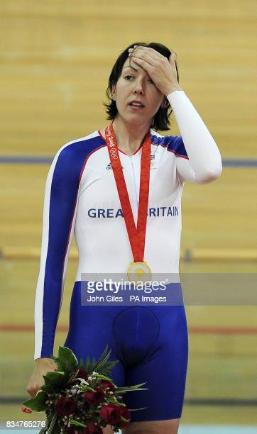 Great Britain's Rebecca Romero after receiving the Gold Medal for the Women's Individual Pursuit at the Laoshan Velodrome during the 2008 Beijing...