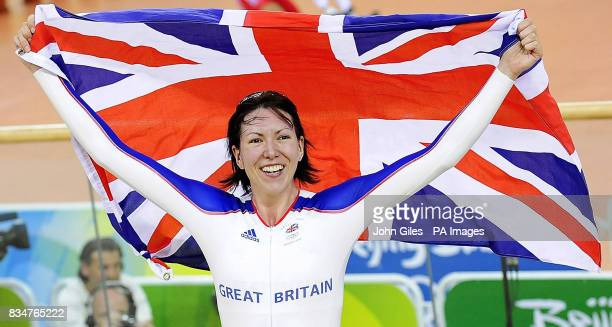 Great Britain's Rebecca Romero celebrates winning the Gold Medal in the Women's Individual Pursuit at the Laoshan Velodrome during the 2008 Beijing...
