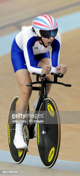 Great Britain's Rebecca Romero on her way to winning the Gold Medal in the Women's Individual Pursuit at the Laoshan Velodrome during the 2008...