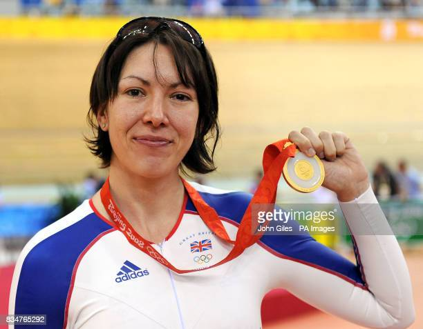 Great Britain's Rebecca Romero with her Gold Medal won in the Women's Individual Pursuit at the Laoshan Velodrome during the 2008 Beijing Olympic...