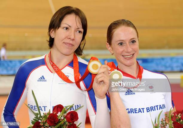 Great Britain's Rebecca Romero with the Gold Medal and Wendy Houvenaghel with the Silver Medal won in the Women's Individual Pursuit at the Laoshan...