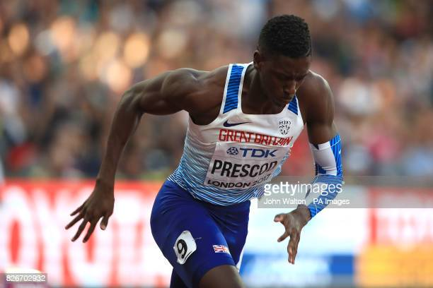 Great Britain's Reece Prescod competes in Heat 2 of the men's 100m semifinal during day two of the 2017 IAAF World Championships at the London Stadium
