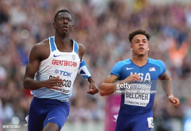 Great Britain's Reece Prescod places second in the Men's 100m semifinal heat one during day two of the 2017 IAAF World Championships at the London...