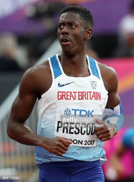 Great Britain's Reece Prescod places second in the Men's 100m semifinal heat two during day two of the 2017 IAAF World Championships at the London...