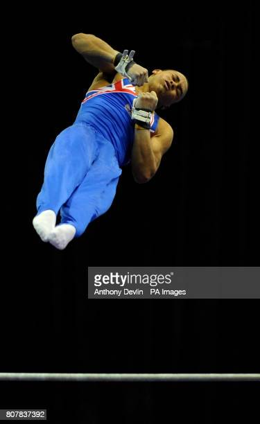 Great Britain's Reiss Beckford competes on the high bar Junior Qualification during the European Artistic Championships at the NIA Birmingham