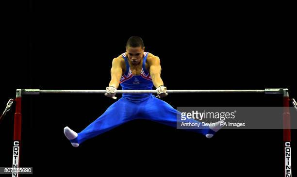 Great Britain's Reiss Beckford on the high bar Junior Qualification during the European Artistic Championships at the NIA Birmingham