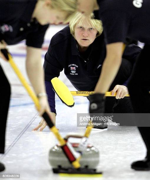 Great Britain's Rhona Martin watches her teammates in action during the first match against Denmark in the women's curling at the Palaghiaccio...