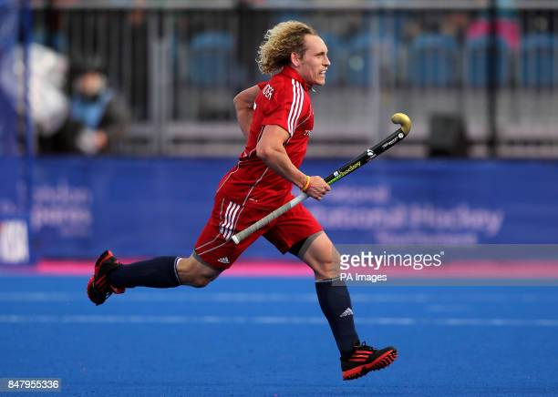 Great Britain's Richard Alexander celebrates his goal against Australia during the Visa International Invitational Hockey Tournament at the Riverbank...