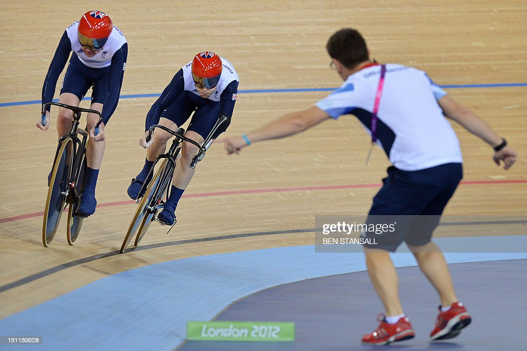 Great Britain's Richard Waddon and JonAllan Butterworth compete during the Mixed C1 to 5 Cycling Team Sprint finals at the velodrome during the...