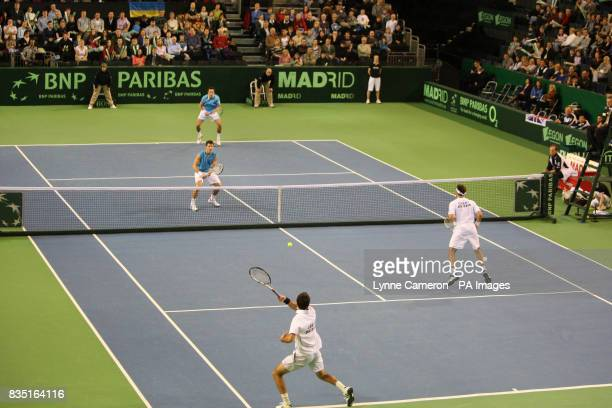 Great Britain's Ross Hutchins Colin Fleming and Ukraine's Sergiy Stakhovsky Sergei Bubka during the Group One Europe/Africa Zone Davis Cup match at...