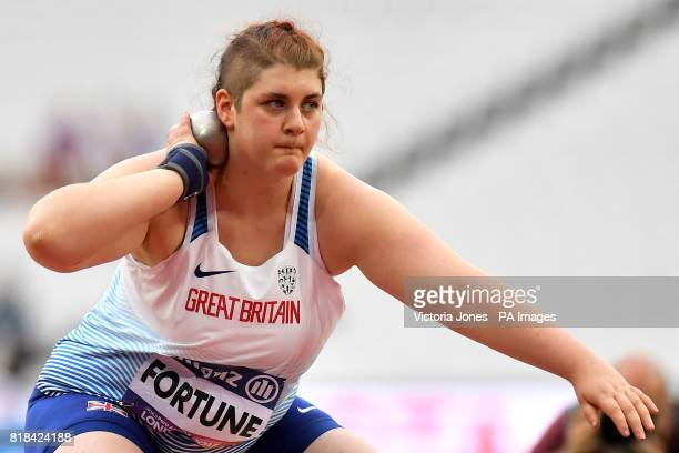 Great Britain's Sabrina Fortune during the Women's Shot Put F20 Final during day five of the 2017 World Para Athletics Championships at London Stadium