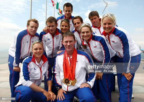 Great Britain's sailing medal winners gather with team manager Stephen Park in Qingdao where the 2008 Beijing Olympic sailing regattas have been held...