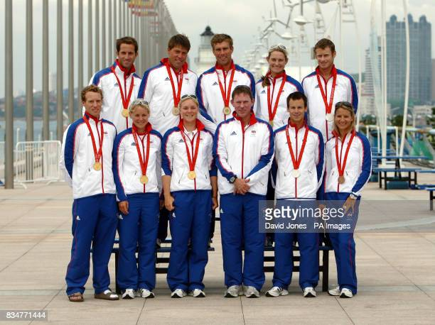 Great Britain's sailing medal winners gather with their team manager in Qingdao where the 2008 Beijing Olympic sailing regattas have been held From...