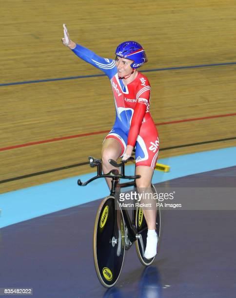 Great Britain's Sarah Storey celebrates winning the LC1 LC2 CP4 500M Time Trial during the BT Paralympic World Cup Manchester
