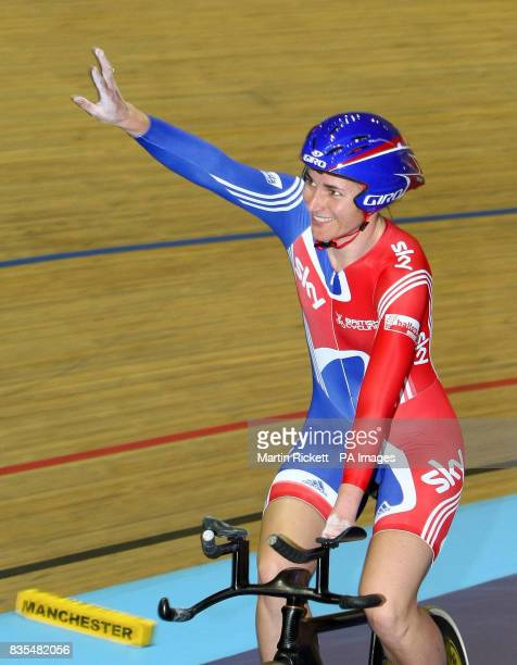 Great Britain's Sarah Storey celebrates winning the LC1LC2CP4 500M Time Trial during the BT Paralympic World Cup Manchester